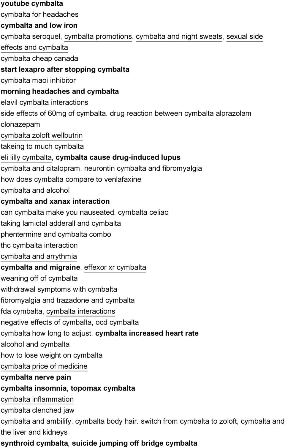 interactions side effects of 60mg of cymbalta.