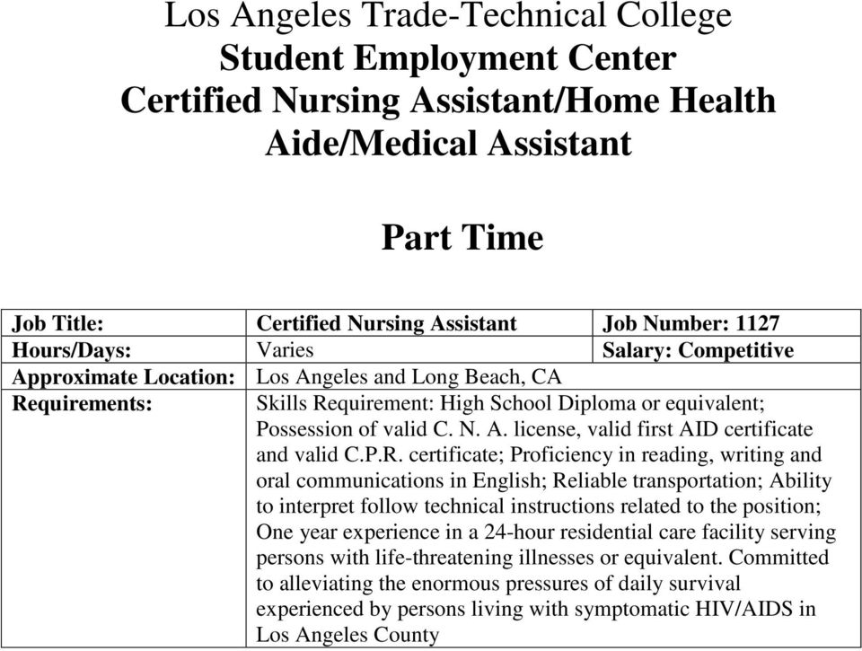 Los Angeles Trade Technical College Student Employment Center