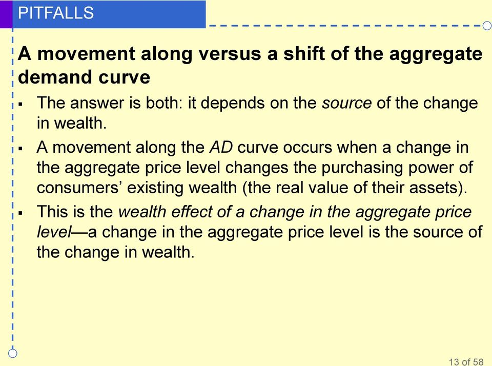 A movement along the AD curve occurs when a change in the aggregate price level changes the purchasing power of