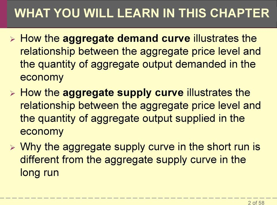 illustrates the relationship between the aggregate price level and the quantity of aggregate output supplied in the
