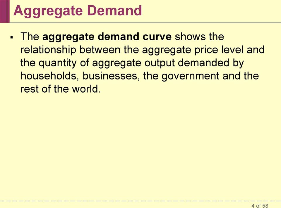quantity of aggregate output demanded by households,