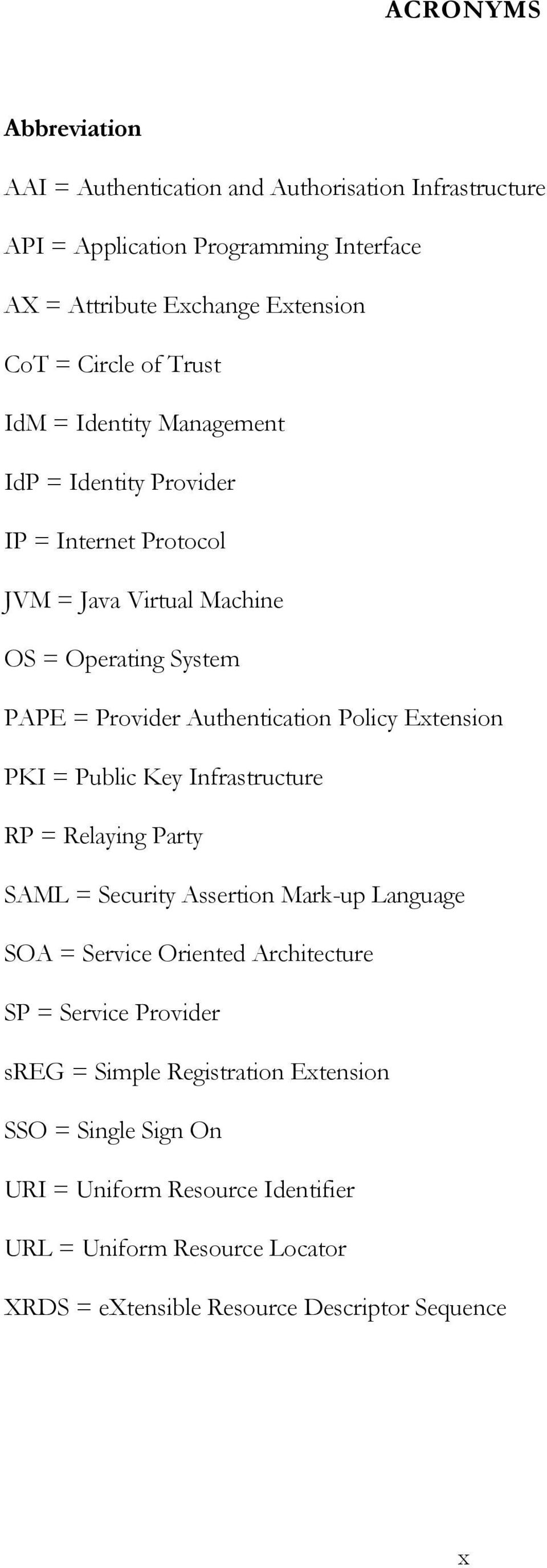 Extension PKI = Public Key Infrastructure RP = Relaying Party SAML = Security Assertion Mark-up Language SOA = Service Oriented Architecture SP = Service Provider