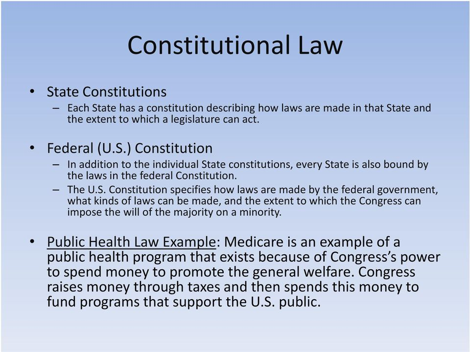 Constitution specifies how laws are made by the federal government, what kinds of laws can be made, and the extent to which the Congress can impose the will of the majority on a minority.