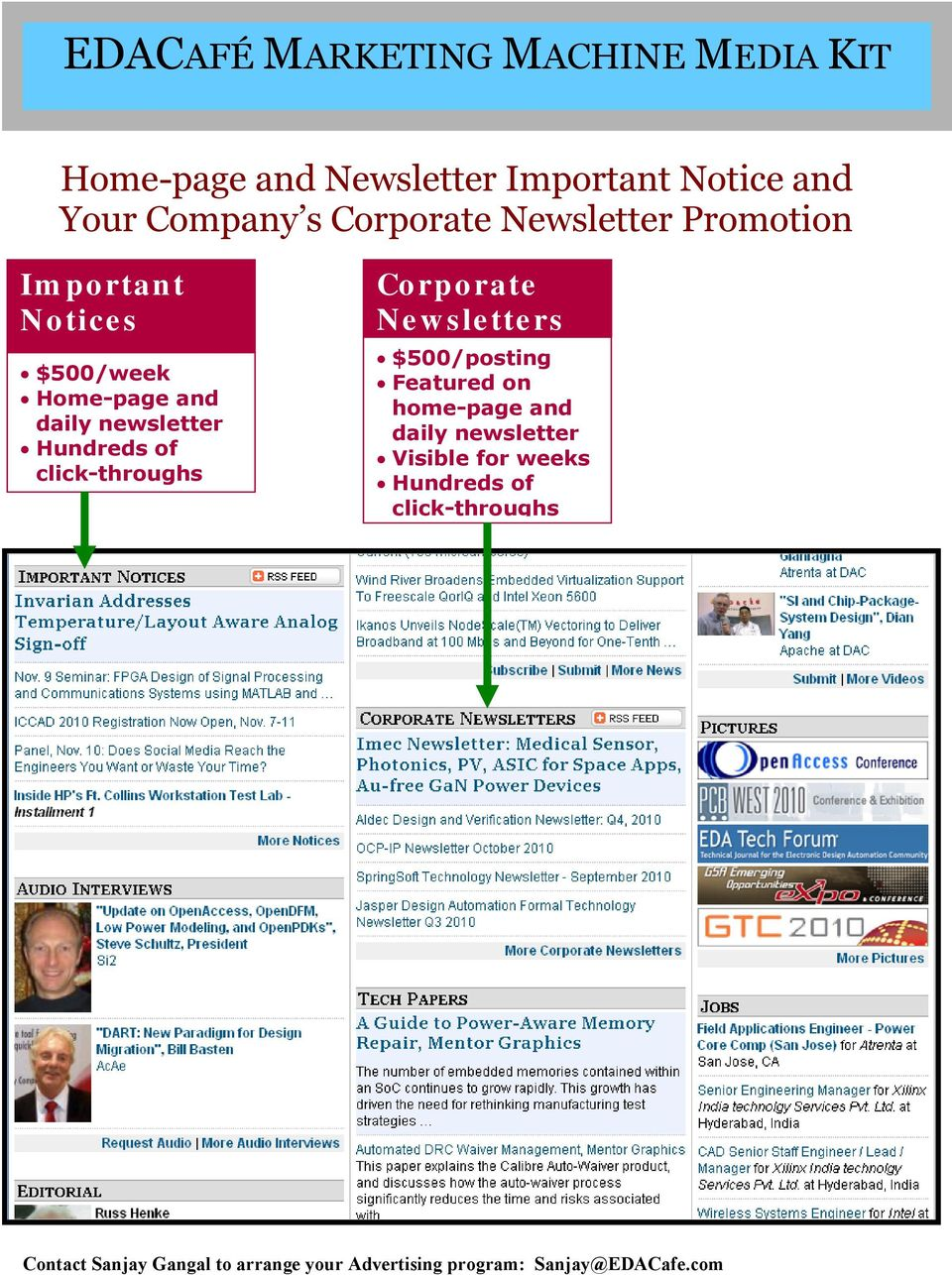 and daily newsletter Hundreds of click-throughs Corporate Newsletters $500/posting