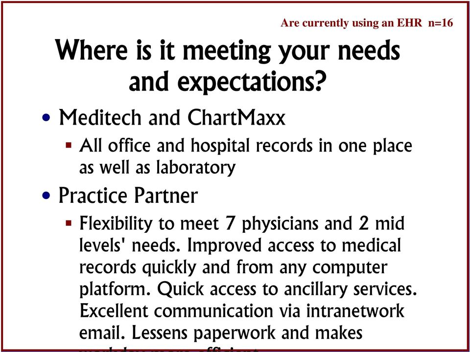 currently using an EHR n=6 Flexibility to meet 7 physicians and 2 mid levels' needs.