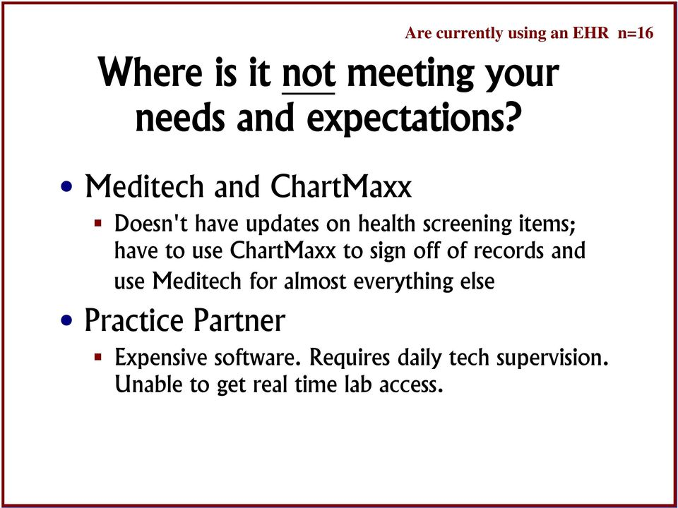 ChartMaxx to sign off of records and use Meditech for almost everything else Practice
