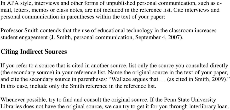 (J. Smith, personal communication, September 4, 2007).