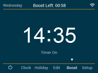 Notes Timer Boost To boost the timed output ON follow these steps. Use the Left / Right keys to scroll to Boost and press Tick.