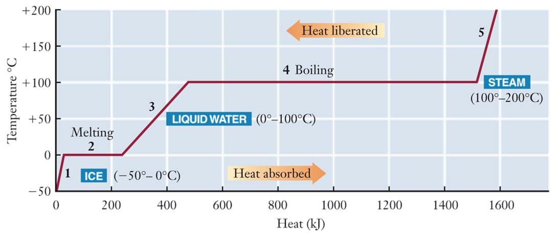 Heating Curve for Water Heat curve for the heating of 500-g of ice at -50 o C to 200 o C. Changes of State of Matter Example Enthalpy Changes Accompanying Changes in States of Matter.
