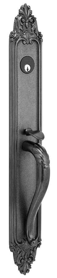 ENTRANCE HANDLESETS SET CONTENTS - Each set consists of exterior trim, standard interior knob or lever trim as selected, 2 ½ or 2 ¾ backset mortise lock (please specify), cylinder, spindle,