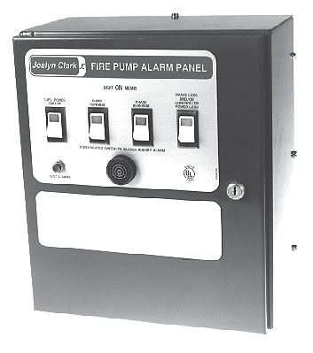 General Information ire Pump Control Alarm Panel General Joslyn Clark alarm panels provide visual signals and audible alarms to monitor the status and operation of the pump controller.