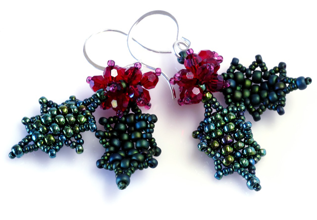 Holly Leaf & Berry Earrings an easy bead weaving design for the holidays by Gwen Fisher www.beadinfinitum.com Holly Leaf & Berry Earrings are easy earrings you can make for the holidays.