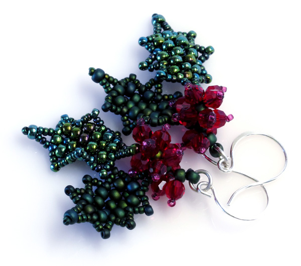 Assemble the Earrings 12. Attach a leaf-and-berry assemblage to an ear wire with a jump ring.