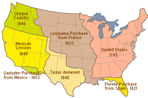 13. Which of the following conclusions can be drawn from the map? A. Most westward expansionist policies did not include reaching the West Coast. B. Westward expansion did not begin until after the U.