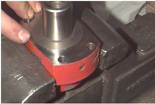 13. Once the proper measurement has been established, install aluminum locking pellet and set screw. 14.