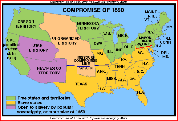 The Parts of the Compromise of 1850 1. California would be admitted as a free state. 2. The new Mexico territory would have no restrictions on slavery. 3.
