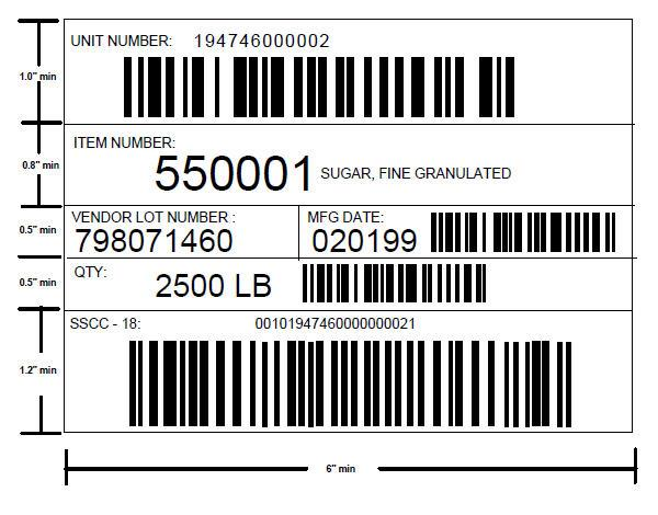 Sample Bar Code Label for Manufacturing Suppliers (Drawing not to scale) See below to see the breakdown of the SSCC-18 in the example: Position: 20 19 18 17 16 15 14 13 12 11 10 9 8 7 6 5 4 3 2 1