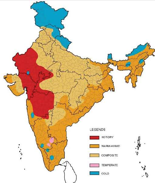 India has a predominantly warm climate Hot dry cooling Hot humid cooling
