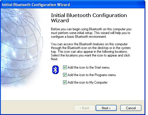 Initial Bluetooth Configuration Wizard Windows XP 1.