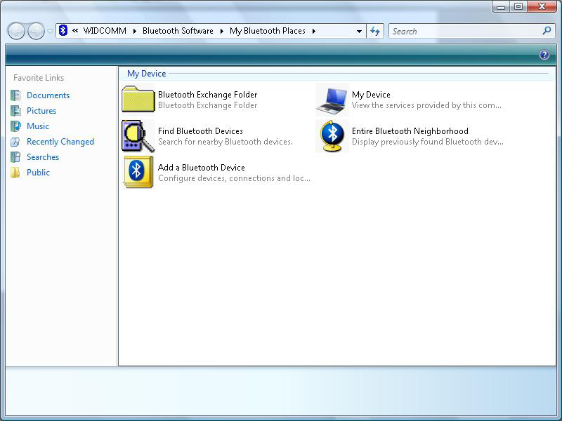 8. After the Bluetooth Configuration Wizard ends, the My Bluetooth Places window will show up.