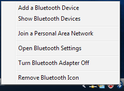 Right click on the Bluetooth