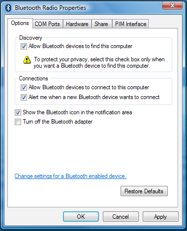 3. Next, check the box labeled Allow Bluetooth devices to find this computer.