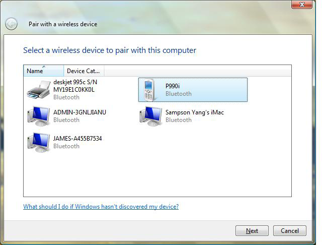 Windows Vista 1. Click on the Bluetooth icon in the system tray and select Add a Bluetooth Device. 2.