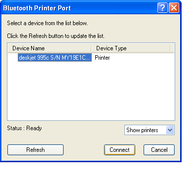 7. Select the printer from the list and