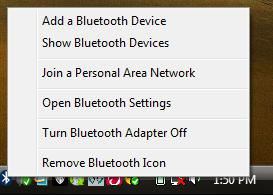 5. Click on the Bluetooth icon located in the system tray and select Join a Personal Area Network. 6.
