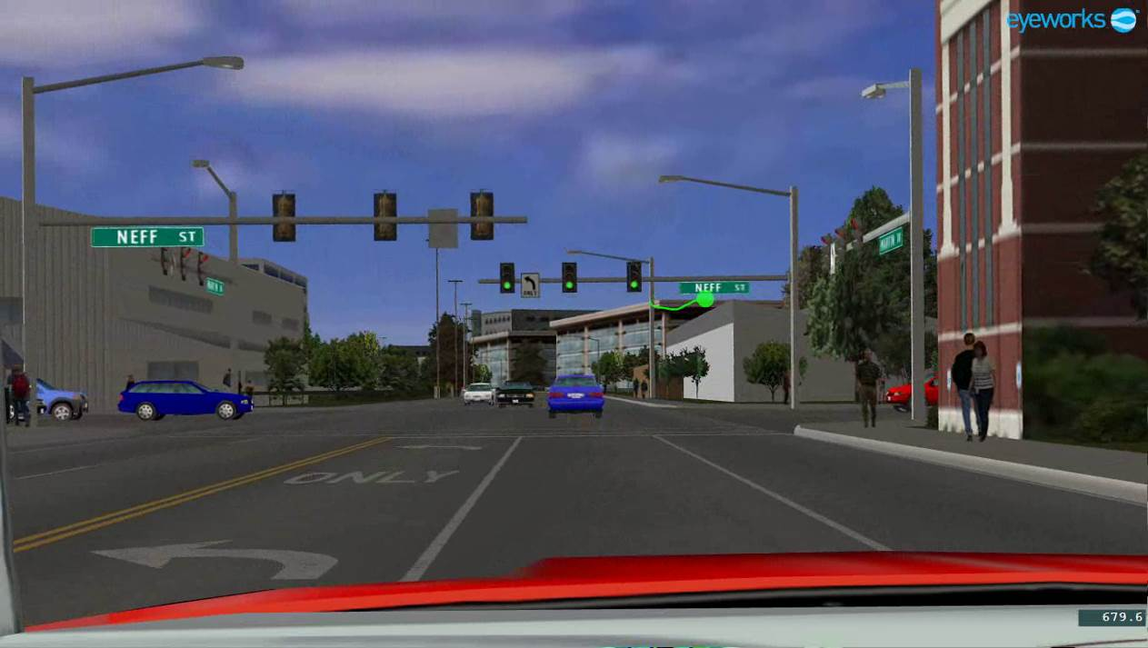 33 figure 3 centre screen simulator display on approach to the intersection with the left