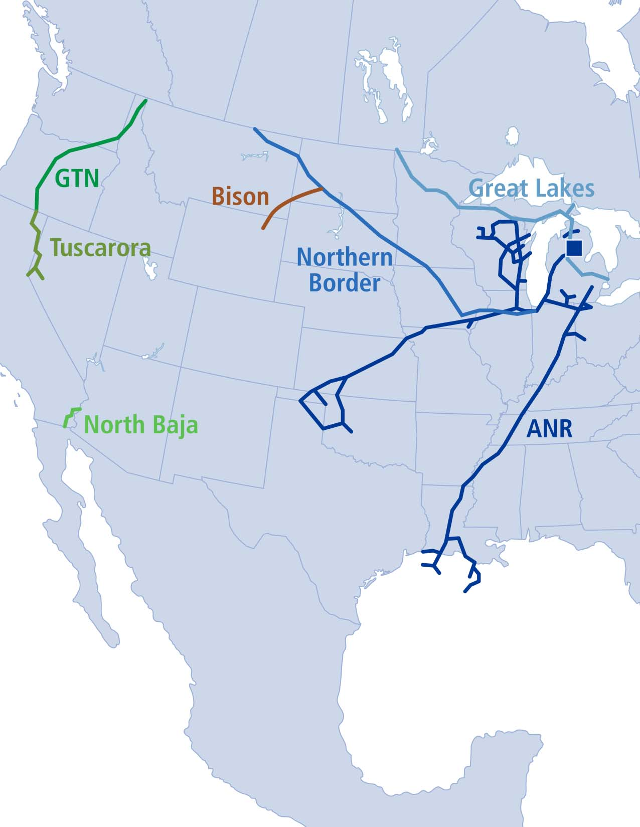 TransCanada U.S. Pipelines Managed in Houston 15,939 miles of operated gas pipelines 15.8 Bcf/day of capacity 10.