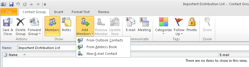 B. Adding personal distribution groups Navigate to the contacts menu, the bottom left of the Outlook client.