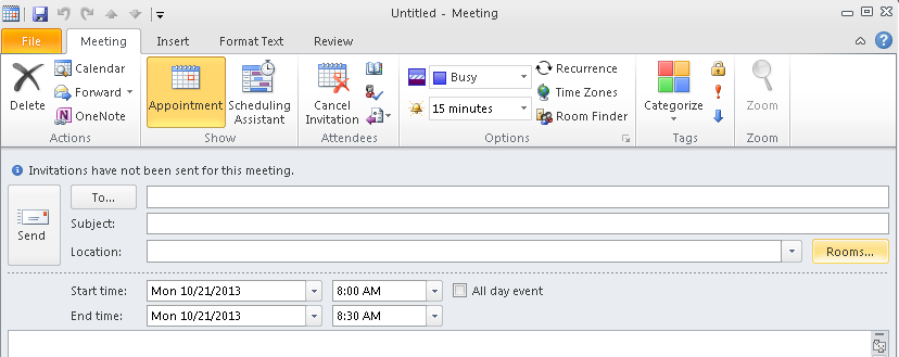 A.2 Schedule a Meeting From the Calendar menu, click new meeting at the top left.