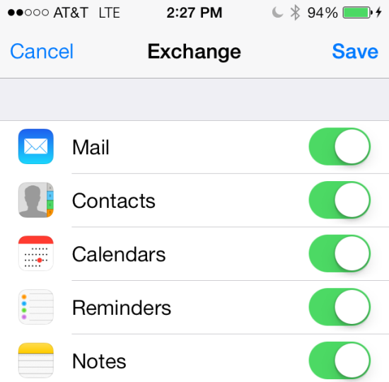 The following screen allows you to sync your mail, contacts, calendars, reminders and notes.
