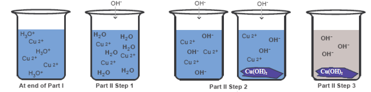 Step-wise Illustration of the Precipitation of Cu(OH)2 in Part II Check solution using red litmus paper (refer to background handout). Continue adding base until solution is basic.