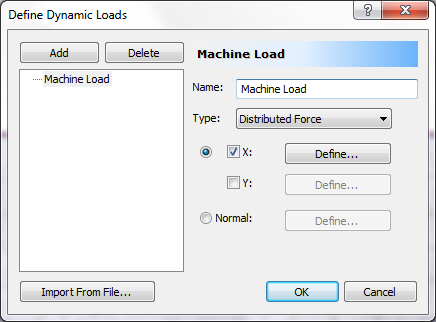 Dynamic Analysis of Machine Foundation 35-9 Dynamic Loads Define the Machine Loading that will be applied on the foundation. Select the Dynamic workflow tab.