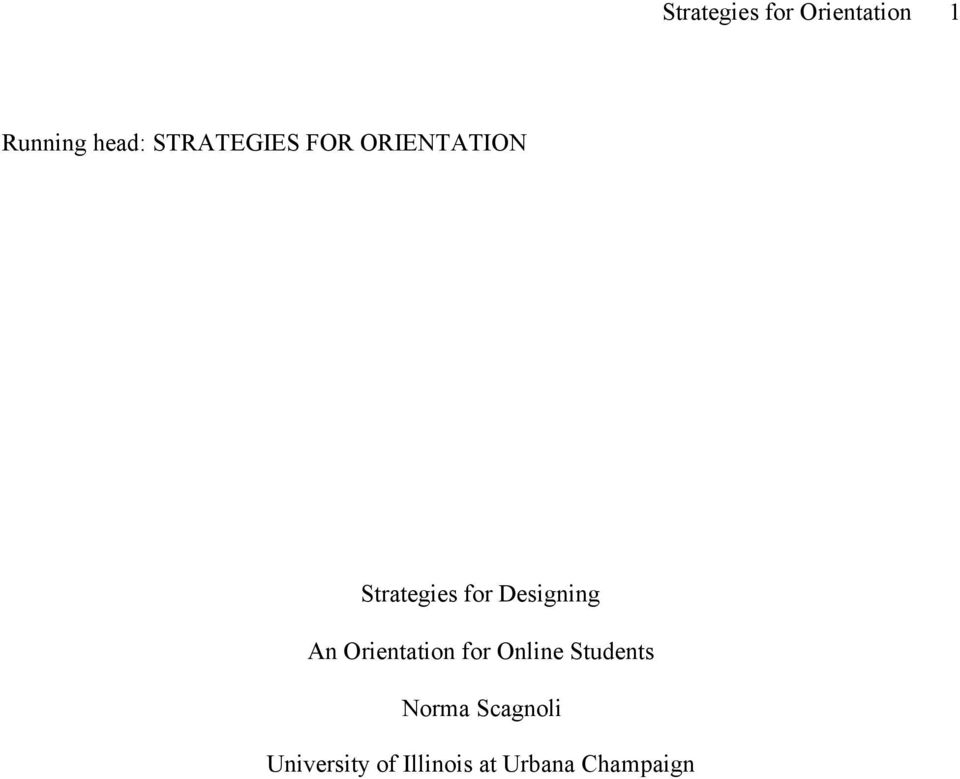 Strategies for Designing An Orientation for