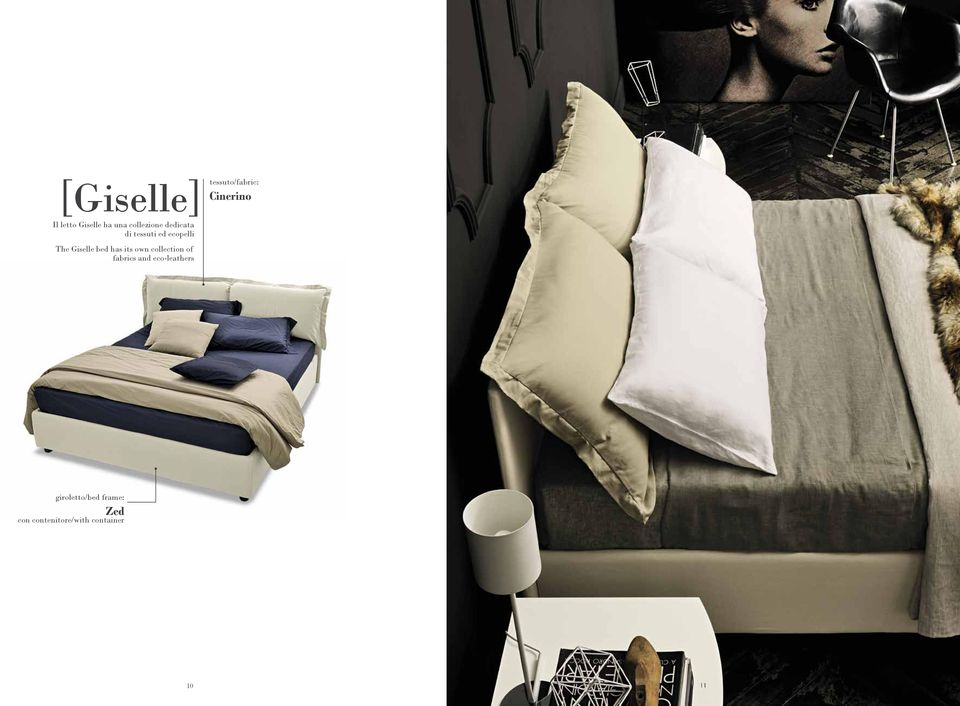 The Giselle bed has its own collection of fabrics