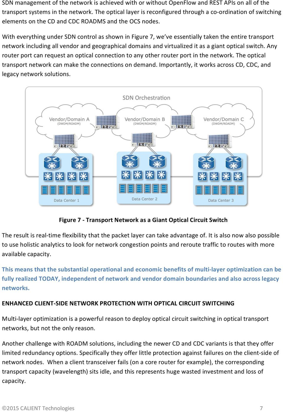 With everything under SDN control as shown in Figure 7, we ve essentially taken the entire transport network including all vendor and geographical domains and virtualized it as a giant optical switch.