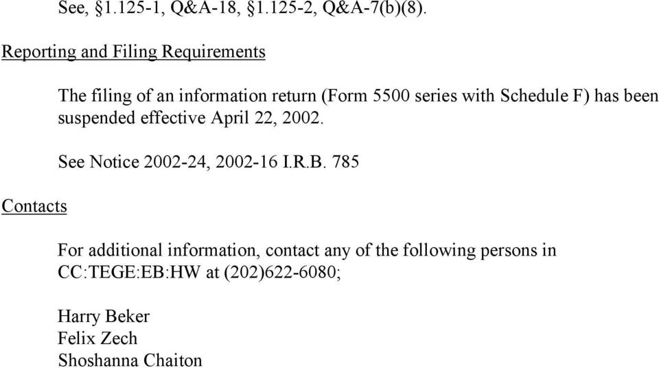 series with Schedule F) has been suspended effective April 22, 2002.