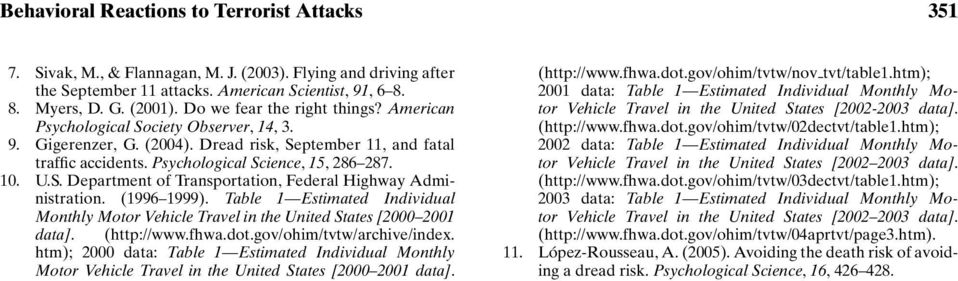 S. Department of Transportation, Federal Highway Administration. (1996 1999). Table 1 Estimated Individual Monthly Motor Vehicle Travel in the United States [2000 2001 data]. (http://www.fhwa.dot.