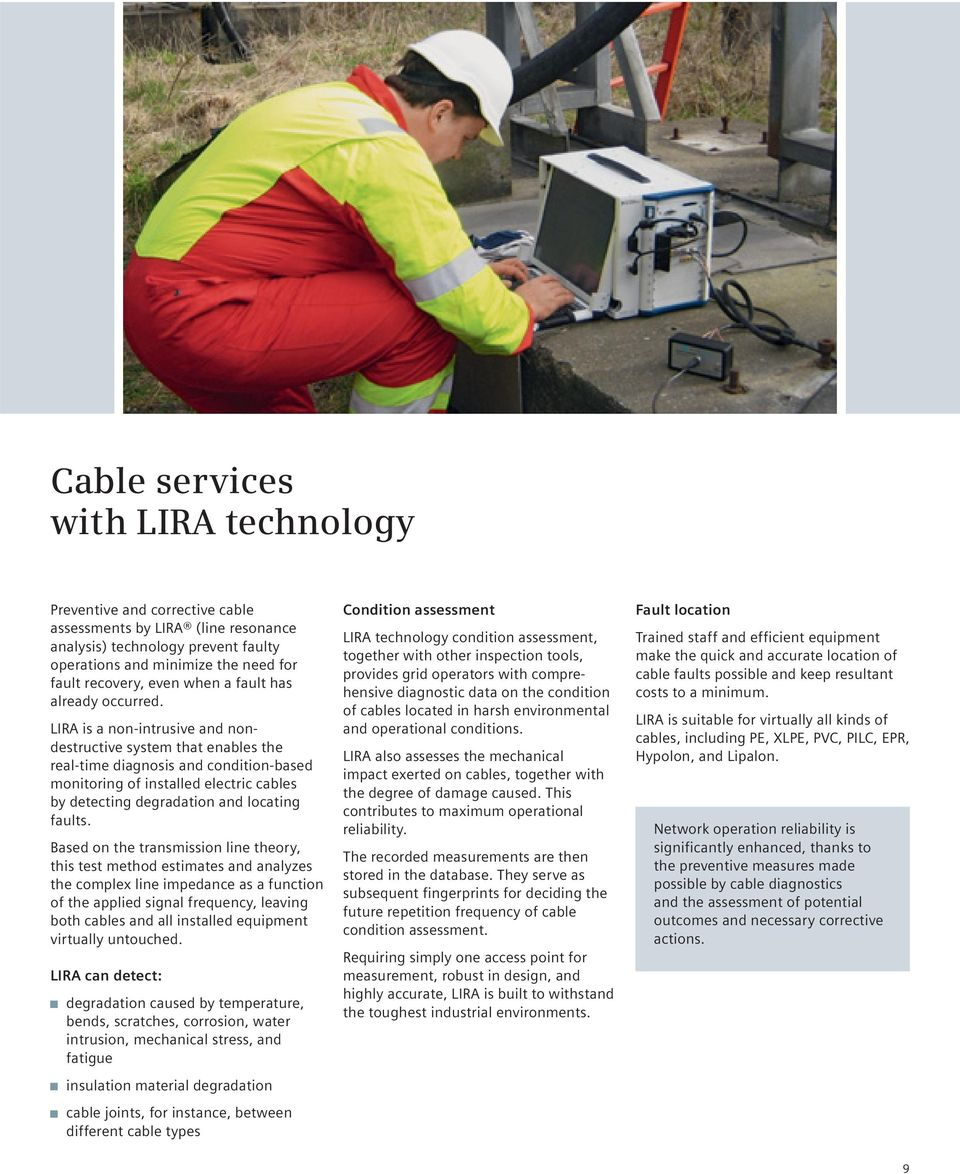 LIRA is a non-intrusive and nondestructive system that enables the real-time diagnosis and condition-based monitoring of installed electric cables by detecting degradation and locating faults.