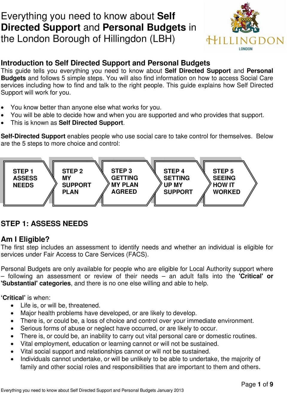 You will also find information on how to access Social Care services including how to find and talk to the right people. This guide explains how Self Directed Support will work for you.