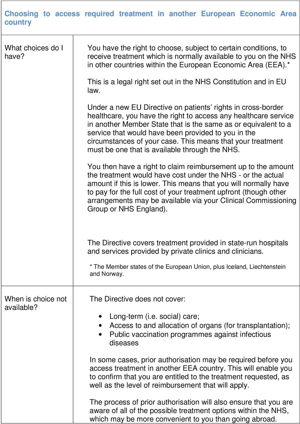 * This is a legal right set out in the NHS Constitution and in EU law.