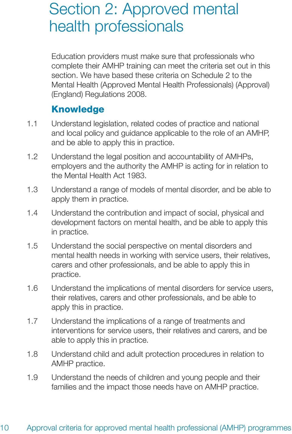 1 Understand legislation, related codes of practice and national and local policy and guidance applicable to the role of an AMHP, and be able to apply this in practice. 1.