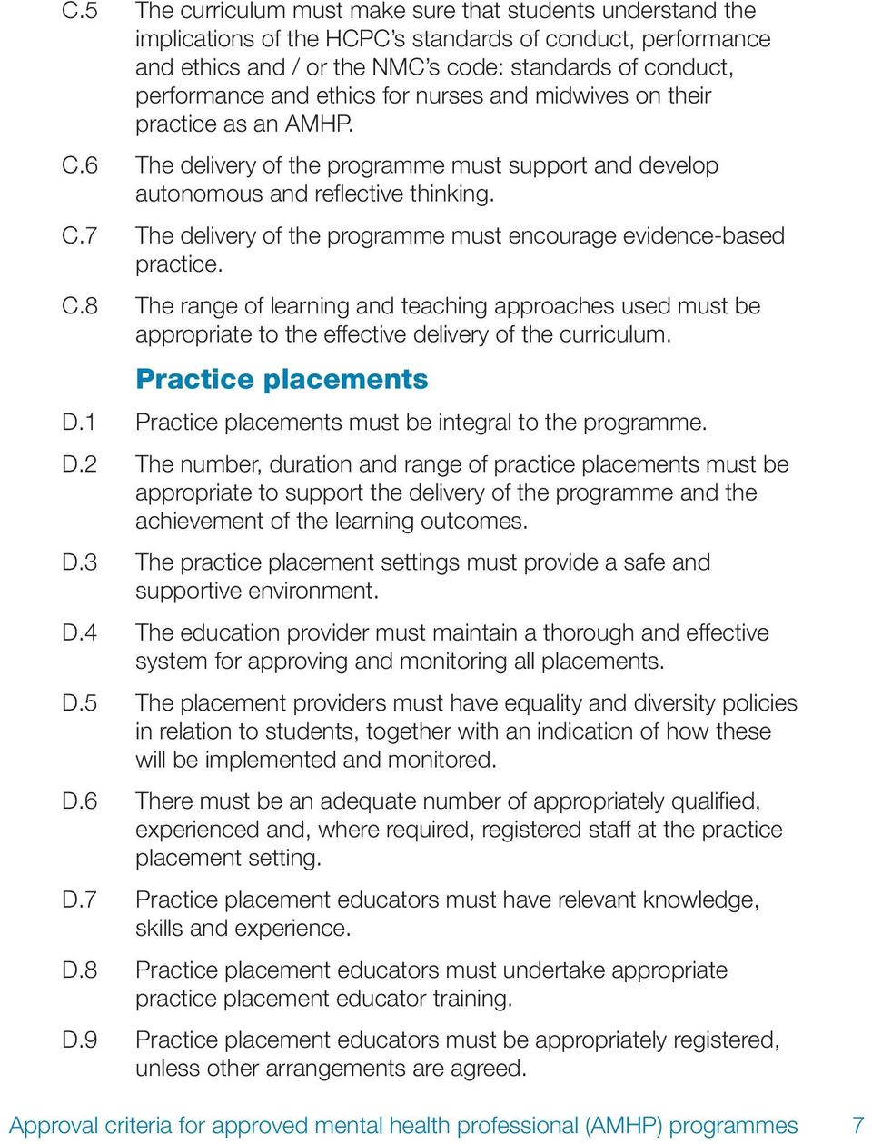 C.8 The range of learning and teaching approaches used must be appropriate to the effective delivery of the curriculum. Practice placements D.1 Practice placements must be integral to the programme.
