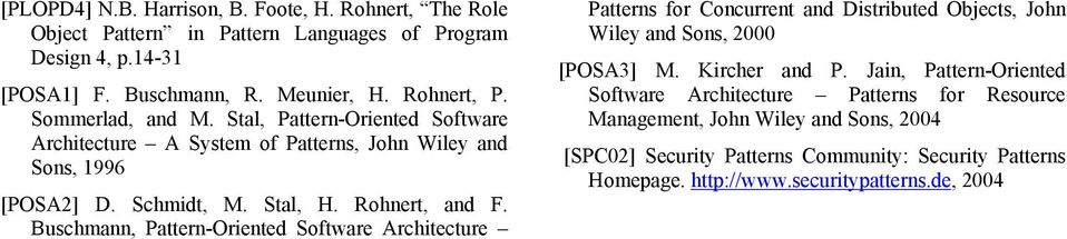 Buschmann, Pattern-Oriented Software Architecture Patterns for Concurrent and Distributed Objects, John Wiley and Sons, 2000 [POSA3] M. Kircher and P.