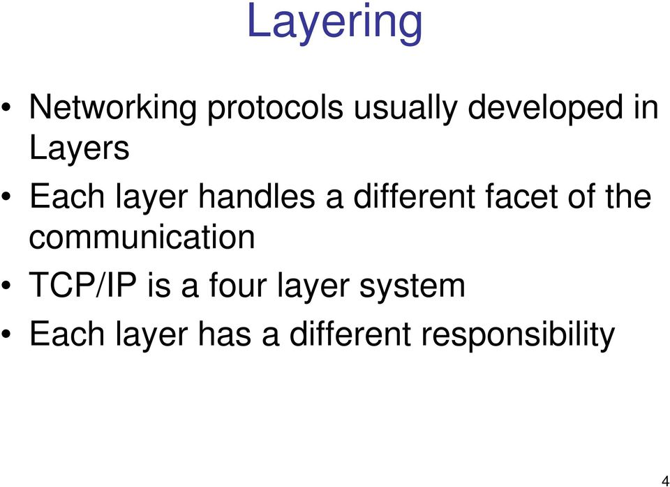 of the communication TCP/IP is a four layer