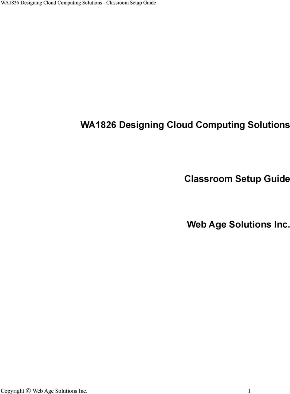 Setup Guide Web Age Solutions