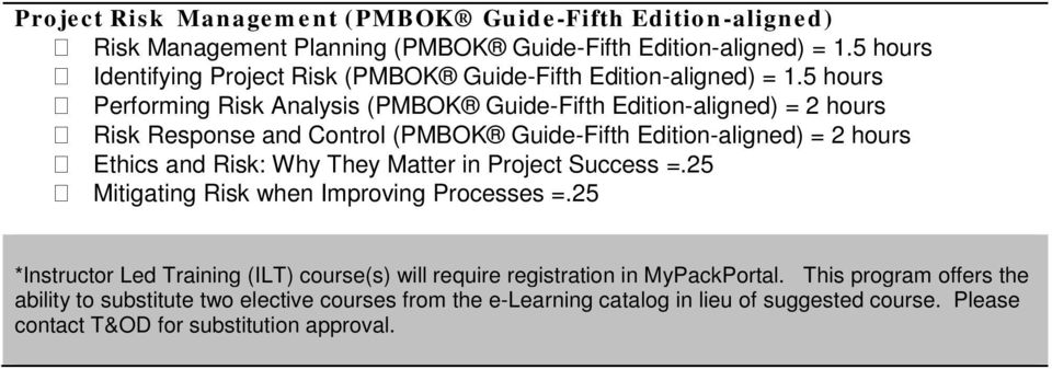 5 hours Performing Risk Analysis (PMBOK Guide-Fifth Edition-aligned) = 2 hours Risk Response and Control (PMBOK Guide-Fifth Edition-aligned) = 2 hours Ethics and Risk: Why They